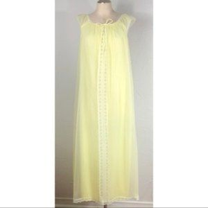 Vintage 70s sheer chiffon lemon yellow nightgown